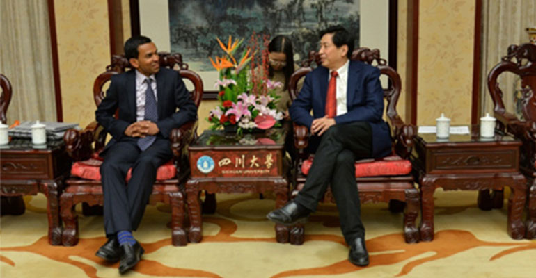 Prof Ranjith meets Prof Xie Heping, President of the Sichuan University, China