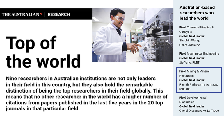 The Australian recognizes research expertise of Prof. Ranjith PG